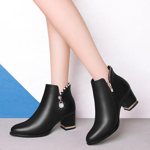 SLW6578新款时尚气质圆头侧拉链粗跟短靴TZF 商品图1
