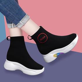 SLW68152新款潮流时尚气质百搭高帮弹力休闲鞋TZF