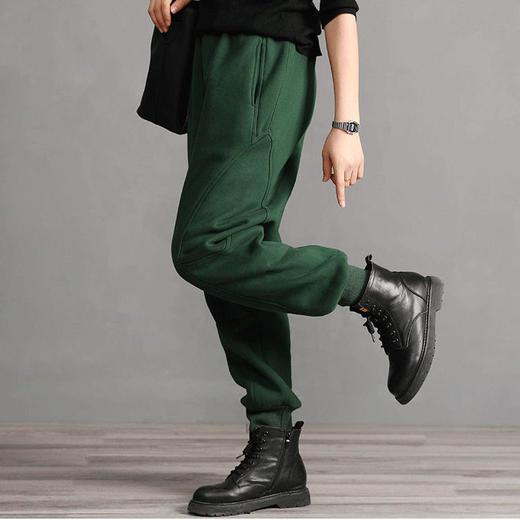 PDD-YYY201130新款时尚气质休闲宽松拼接加绒加厚束脚哈伦运动裤TZF 商品图5