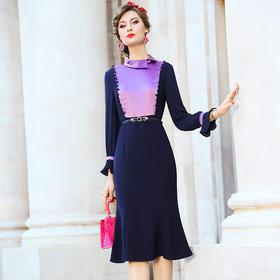 FMY33518新款时尚优雅气质修身撞色中长款包臀鱼尾裙TZF