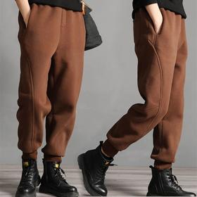 PDD-YYY201130新款时尚气质休闲宽松拼接加绒加厚束脚哈伦运动裤TZF
