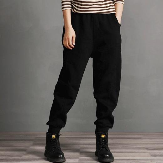 PDD-YYY201130新款时尚气质休闲宽松拼接加绒加厚束脚哈伦运动裤TZF 商品图3