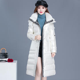 QYM-WB-FZC20A-9-Y新款韩版时尚气质连帽翻领长袖长款保暖羽绒服外套TZF