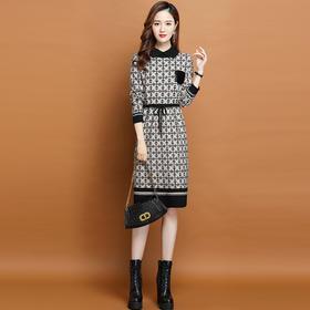 HRFS-WL2329新款时尚气质修身显瘦翻领长袖舒适针织连衣裙TZF