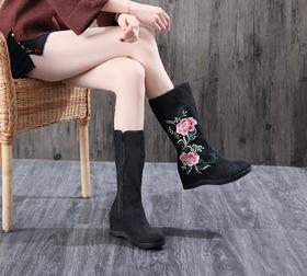 TML6005-2新款民族风优雅气质绣花中筒靴TZF