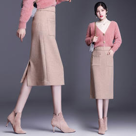 HRFS-WY20919新款时尚简约大气百搭松紧腰纯色针织包臀半身裙TZF