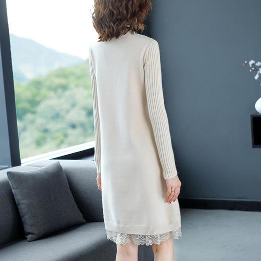 YHSS-A99945新款时尚洋气修身半高领长袖中长款针织打底裙TZF 商品图3