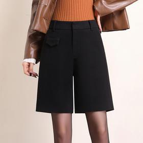 HRFS-WM88859新款时尚气质休闲百搭毛呢直筒五分短裤TZF