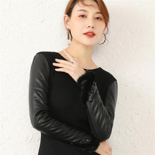 CCFS-P-2063新款时尚气质修身加绒皮袖打底衫TZF 商品图4