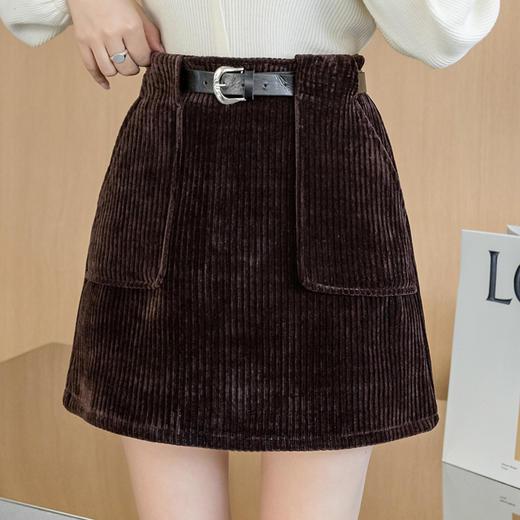 YHSS891新款时尚气质百搭高腰灯芯绒包臀短裙TZF 商品图3