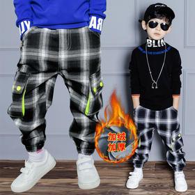 YBFS-k6039新款男童时尚气质休闲加绒加厚格子工装裤TZF