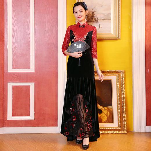 DLQ-A2727新款中国风名媛气质修身立领七分袖丝绒拼接刺绣连衣裙TZF 商品图0