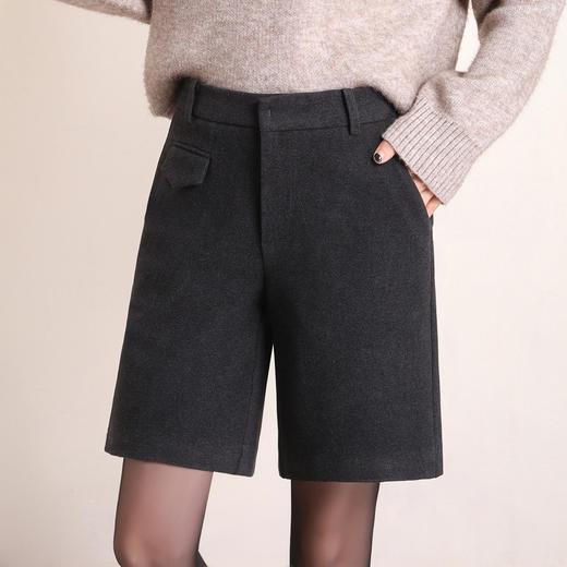 HRFS-WM88859新款时尚气质休闲百搭毛呢直筒五分短裤TZF 商品图3