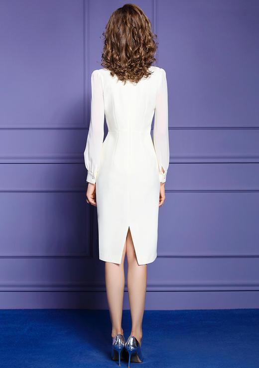 FMY33561新款时尚优雅气质修身圆领长袖钉珠中长款包臀连衣裙TZF 商品图3