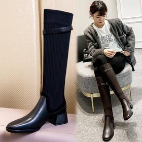 XMYL6192新款韩版时尚休闲头层牛皮弹力飞织皮带扣长靴TZF