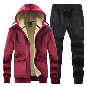 YLFZ-BD0C新款时尚气质加绒加厚银狐绒卫衣外套裤子两件套TZF