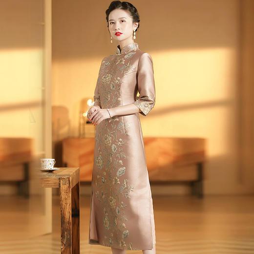 XZY-QF-201018新款优雅气质改良立领七分袖长款定位提花旗袍裙TZF 商品图1
