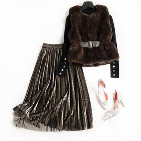 OLSZ8586新款潮流时尚气质马甲针织衫金丝绒半身裙三件套TZF