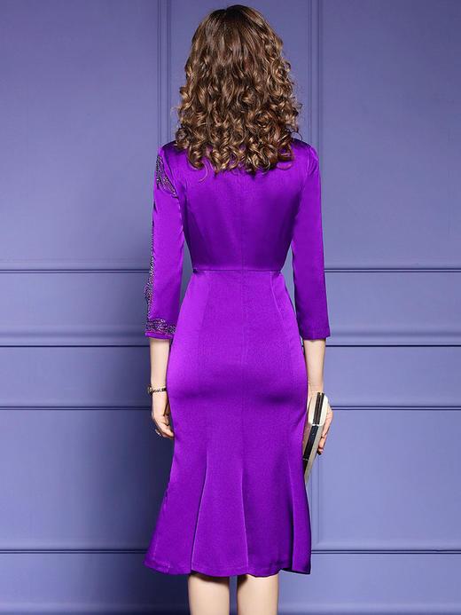 FMY33753新款优雅气质修身圆领七分袖中长款刺绣鱼尾裙TZF 商品图4