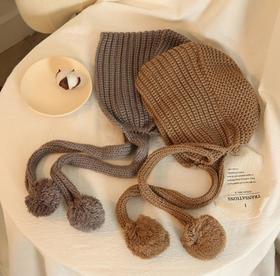 *日系毛线帽女秋冬天纯色保暖韩版甜美可爱韩版护耳包头毛球针织帽 | 基础商品