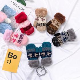 *圣诞鹿儿童手套包指手套加绒挂绳儿童手套保暖儿童手套 | 基础商品
