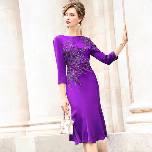 FMY33753新款优雅气质修身圆领七分袖中长款刺绣鱼尾裙TZF 商品图0