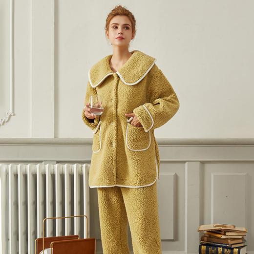 WDF978新款时尚气质大翻领长袖仿羊羔绒保暖家居服套装TZF 商品图3