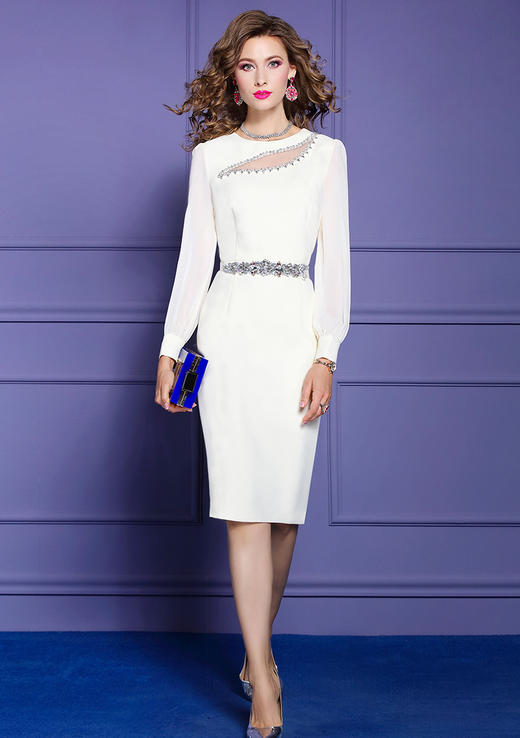 FMY33561新款时尚优雅气质修身圆领长袖钉珠中长款包臀连衣裙TZF 商品图2