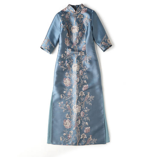 XZY-QF-201018新款优雅气质改良立领七分袖长款定位提花旗袍裙TZF 商品图4