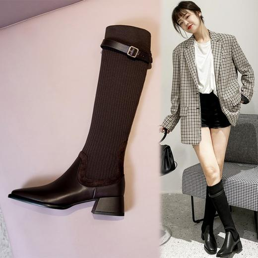 XMYL6192新款韩版时尚休闲头层牛皮弹力飞织皮带扣长靴TZF 商品图1
