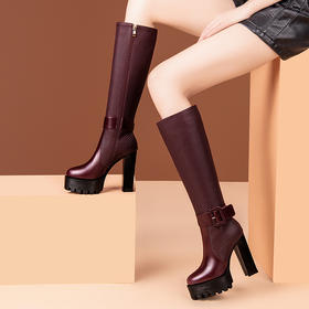 OLD-SX-5020新款时尚气质真皮防水台粗高跟长筒靴TZF