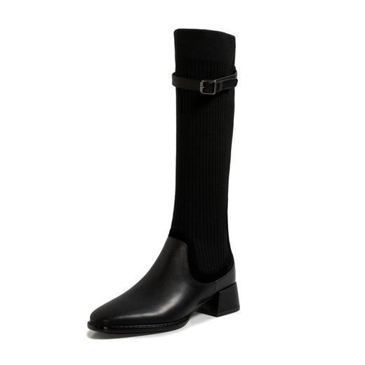 XMYL6192新款韩版时尚休闲头层牛皮弹力飞织皮带扣长靴TZF 商品图3