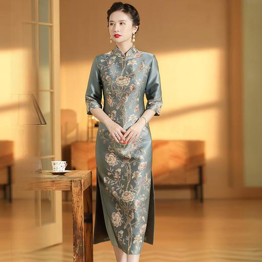 XZY-QF-201018新款优雅气质改良立领七分袖长款定位提花旗袍裙TZF 商品图2