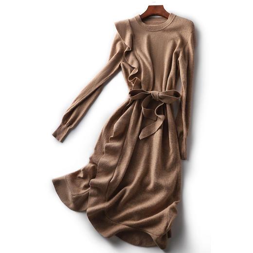 QCJZ-ZQ237074AL新款时尚气质圆领长袖荷叶边系带针织连衣裙TZF 商品图2