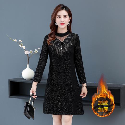 MQ1280-218新款时尚洋气圆领长袖加绒加厚打底连衣裙TZF 商品图2