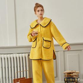 WDF978新款时尚气质大翻领长袖仿羊羔绒保暖家居服套装TZF