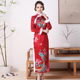 FD-QC1698027新款高端优雅气质修身立领手工盘扣长款真丝印花旗袍裙TZF