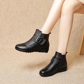 MLD8901新款优雅气质真皮加绒保暖平底防滑棉鞋TZF
