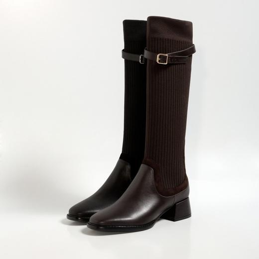 XMYL6192新款韩版时尚休闲头层牛皮弹力飞织皮带扣长靴TZF 商品图2