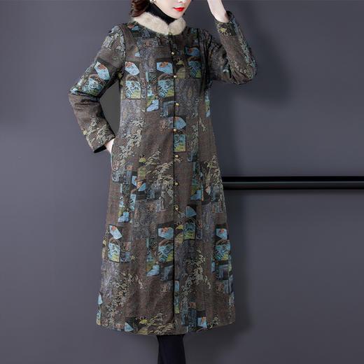 AHM-qyy9847新款时尚优雅气质立领长袖长款印花夹棉外套TZF 商品图2