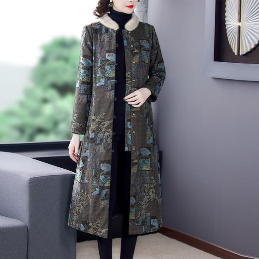 AHM-qyy9847新款时尚优雅气质立领长袖长款印花夹棉外套TZF 商品图1
