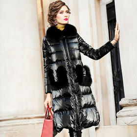 FMY28088新款时尚优雅气质狐狸毛领长袖中长款加厚保暖羽绒服外套TZF