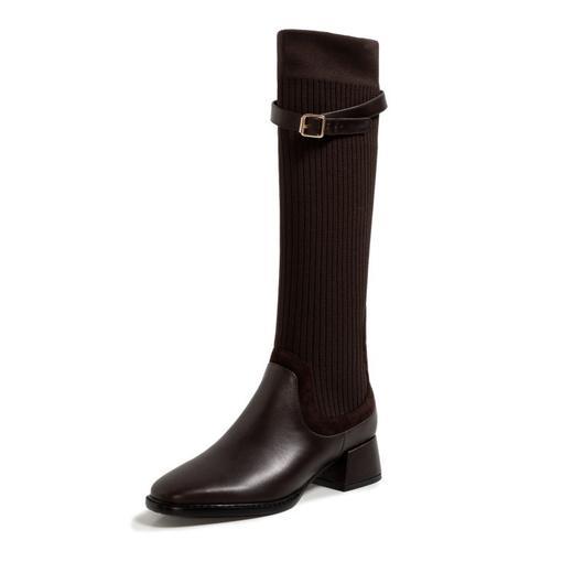 XMYL6192新款韩版时尚休闲头层牛皮弹力飞织皮带扣长靴TZF 商品图4