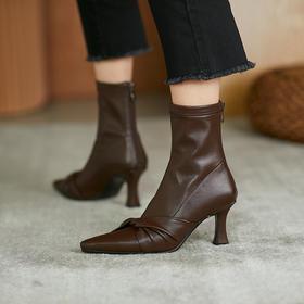 OLD345新款时尚气质尖头中跟弹力短靴TZF