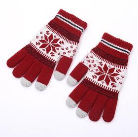 *圣诞雪花手套仿羊绒保暖全指针织手套游戏触摸屏手套 | 基础商品