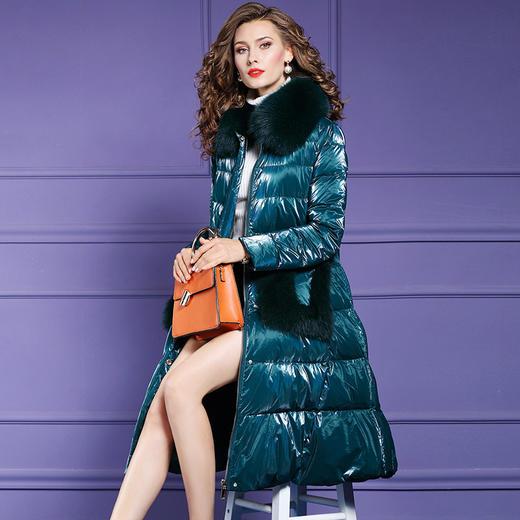 FMY28088新款时尚优雅气质狐狸毛领长袖中长款加厚保暖羽绒服外套TZF 商品图1