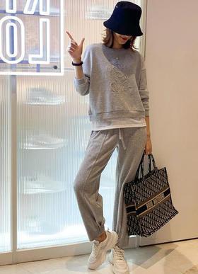 QCJZ8917新款潮流时尚气质拼接卫衣松紧腰卫裤两件套TZF
