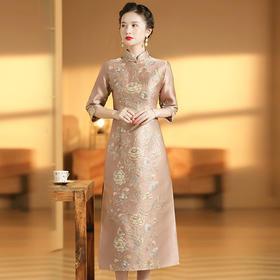 XZY-QF-201018新款优雅气质改良立领七分袖长款定位提花旗袍裙TZF