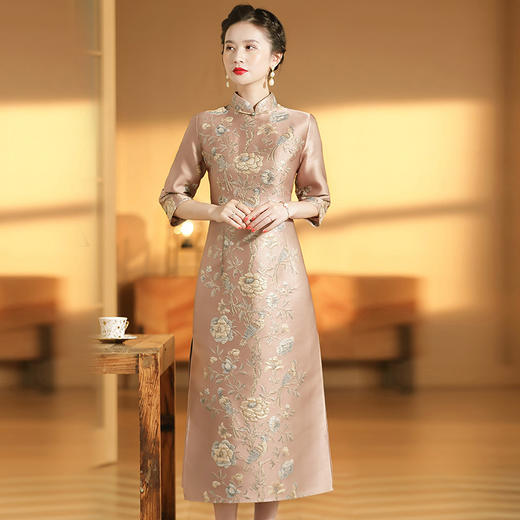 XZY-QF-201018新款优雅气质改良立领七分袖长款定位提花旗袍裙TZF 商品图0