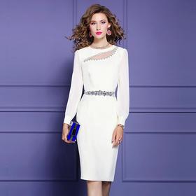 FMY33561新款时尚优雅气质修身圆领长袖钉珠中长款包臀连衣裙TZF